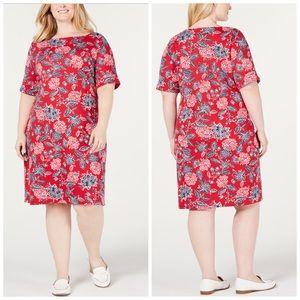 Red White & Blue Floral Print Dress Plus Size 0X
